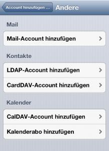 Neuen CardDAV / CalDAV Account wählen