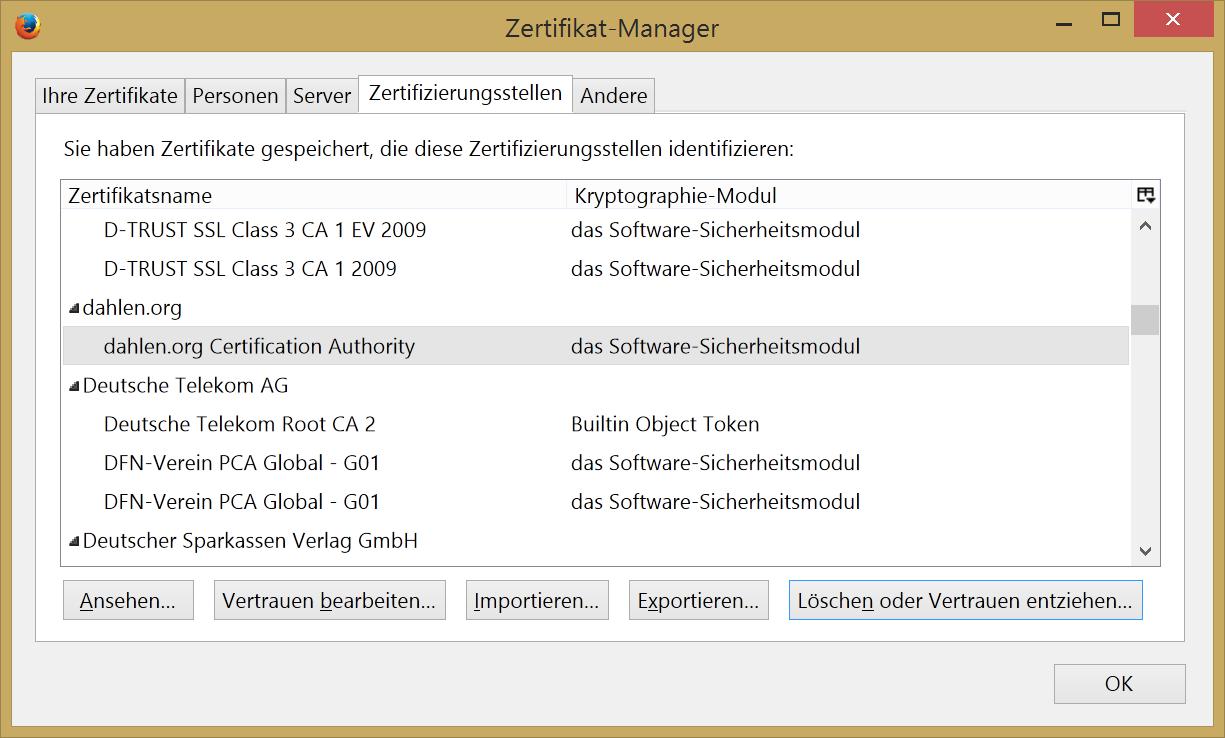 Zertifikat Installation Firefox / Thunderbird