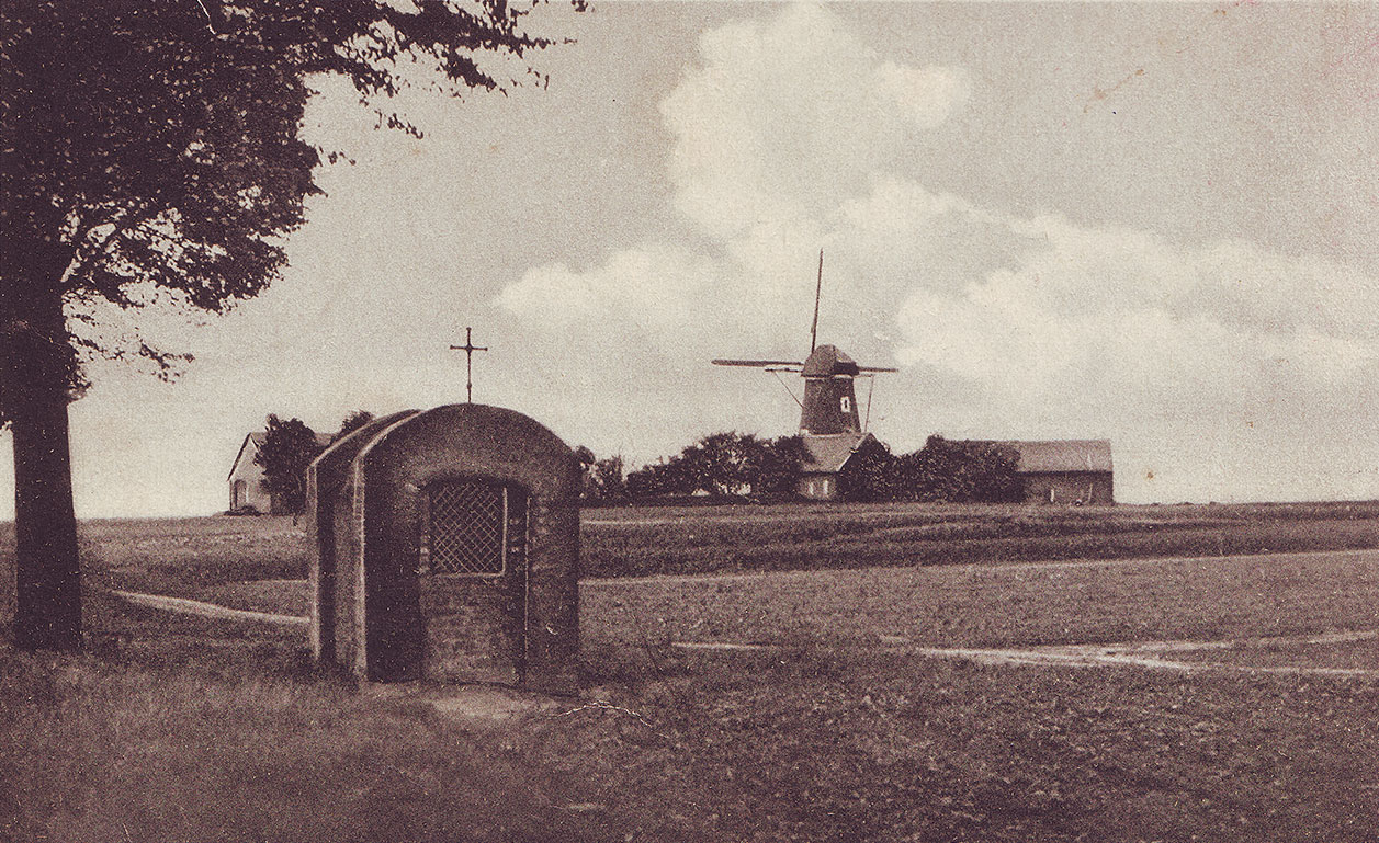 Scan einer Postkarte mit historischer Ansicht der Dahlen-Mühle